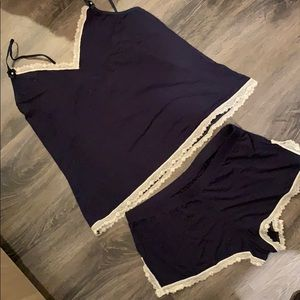 NWOT Navy/cream lace PJ set with small flowers